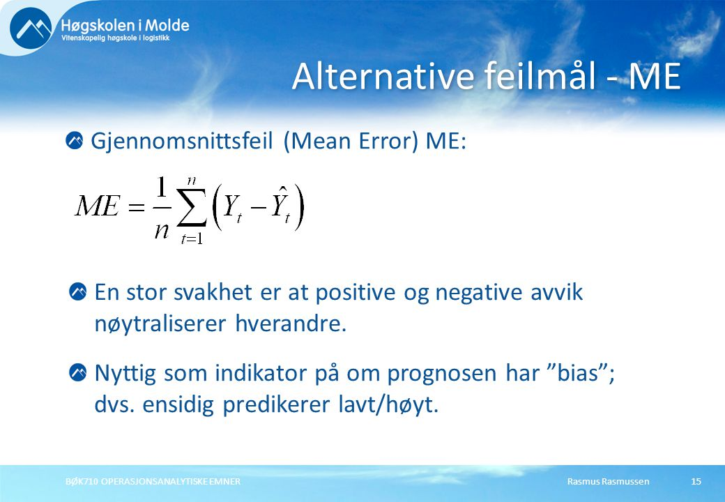 Alternative feilmål - ME
