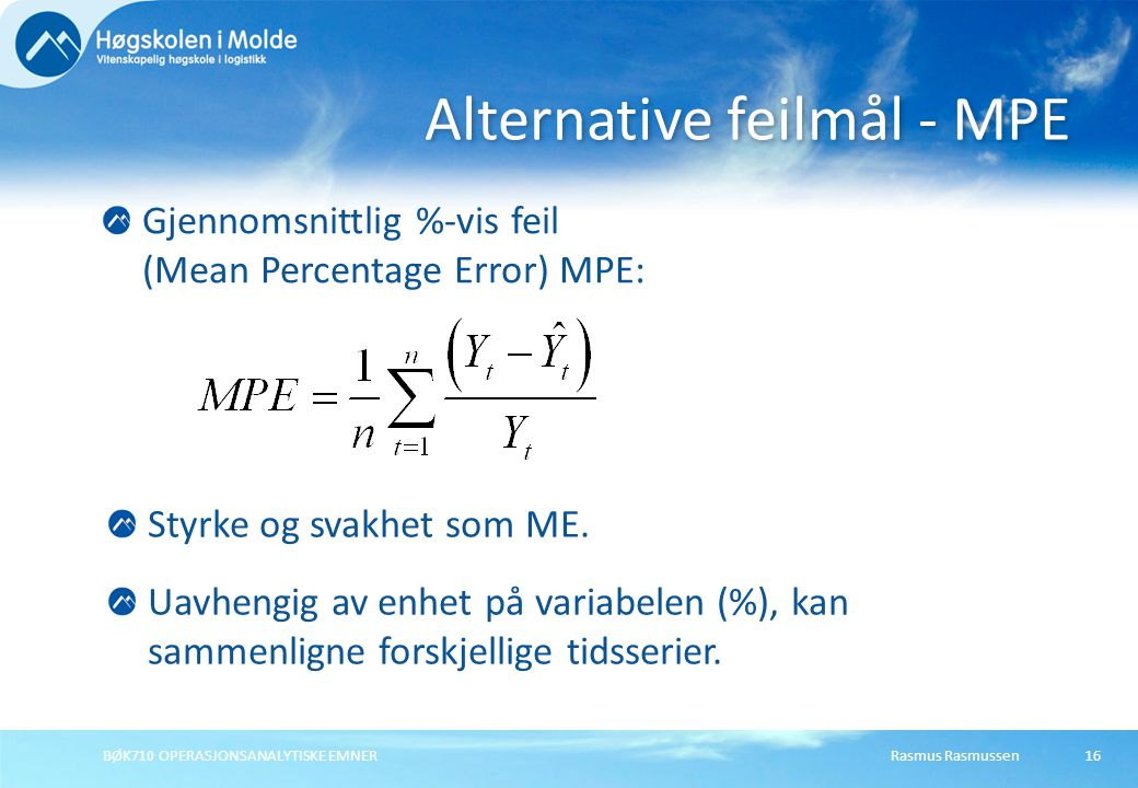 Alternative feilmål - MPE