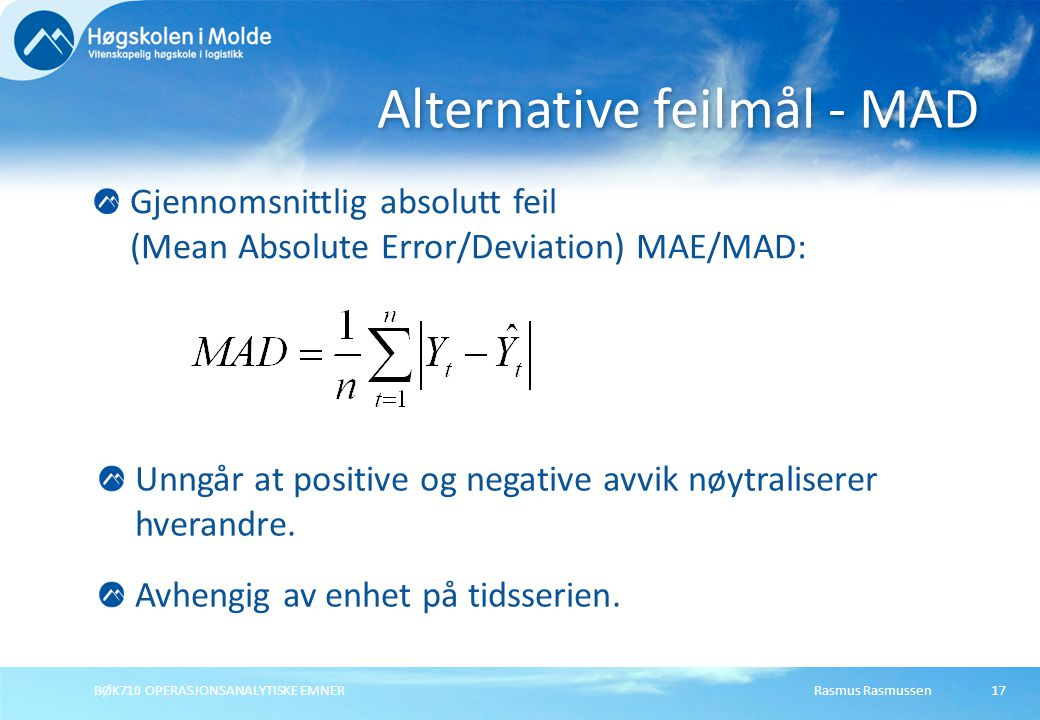 Alternative feilmål - MAD