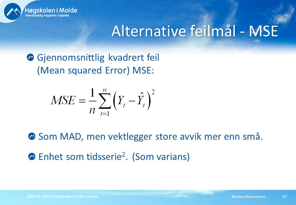 Alternative feilmål - MSE