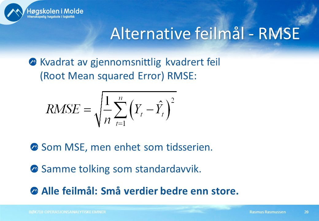 Alternative feilmål - RMSE