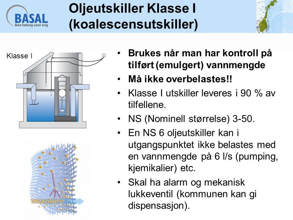 Oljeutskiller Klasse I (koalescensutskiller)