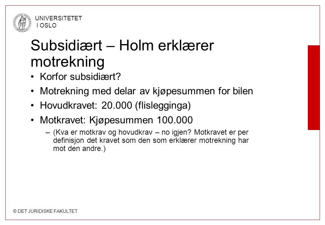 Subsidiært – Holm erklærer motrekning