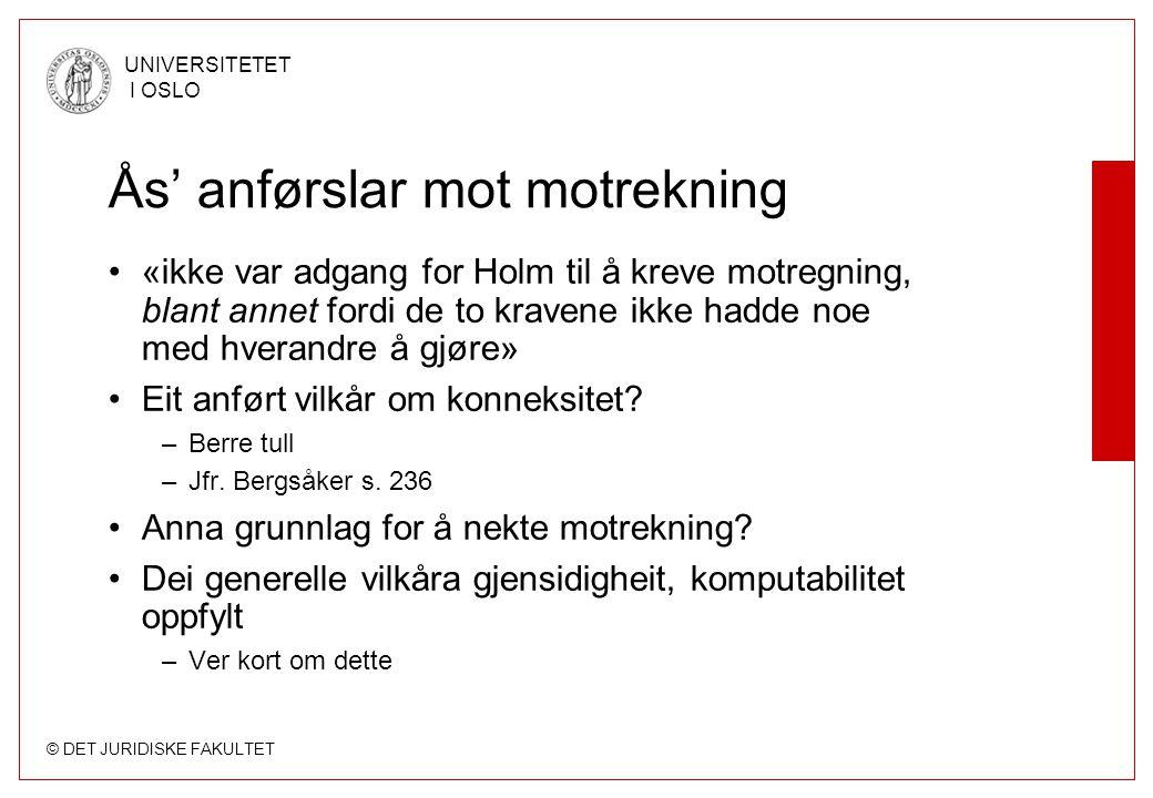 Ås' anførslar mot motrekning