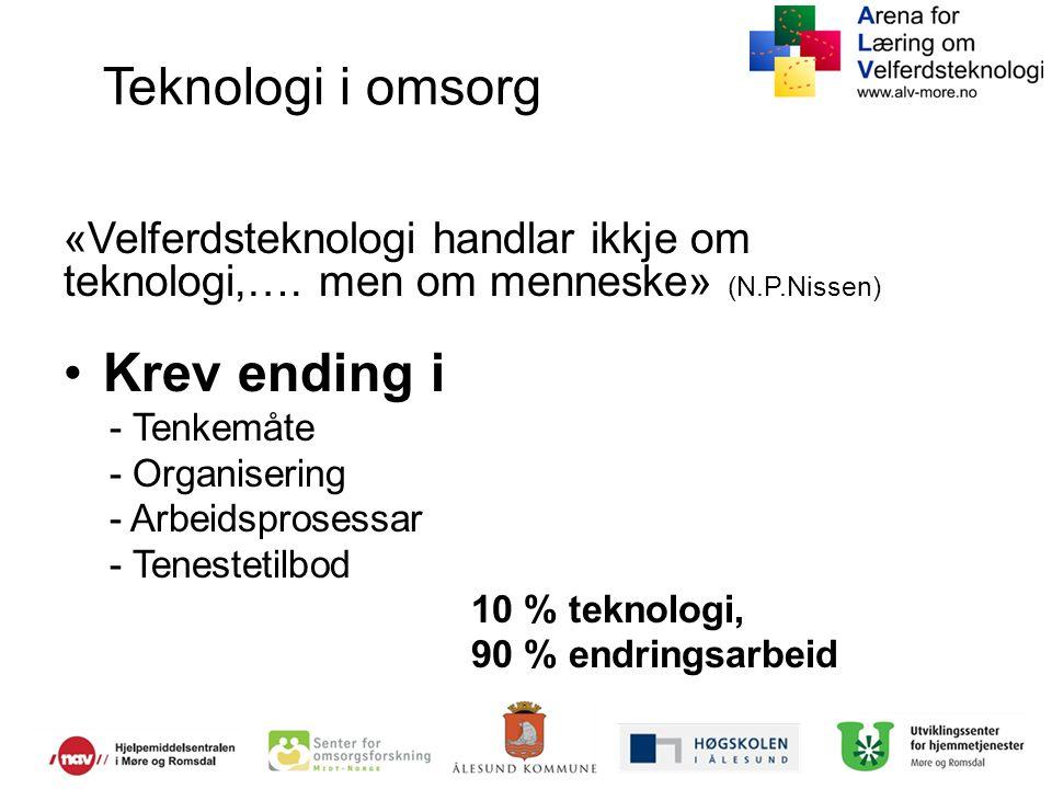 Teknologi i omsorg «Velferdsteknologi handlar ikkje om teknologi,…. men om menneske» (N.P.Nissen) Krev ending i.