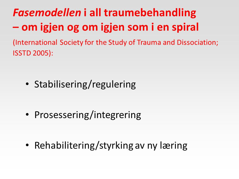 Fasemodellen i all traumebehandling – om igjen og om igjen som i en spiral (International Society for the Study of Trauma and Dissociation; ISSTD 2005):