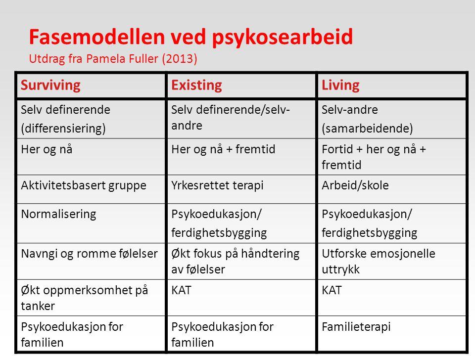 Fasemodellen ved psykosearbeid Utdrag fra Pamela Fuller (2013)