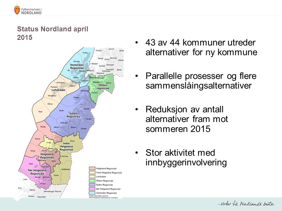 43 av 44 kommuner utreder alternativer for ny kommune