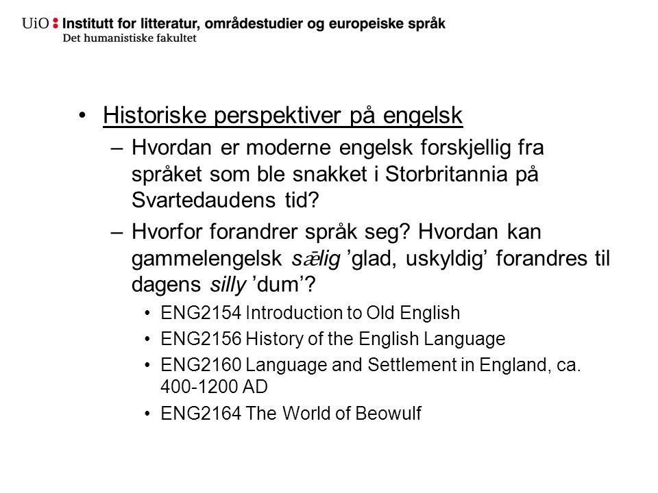 Historiske perspektiver på engelsk