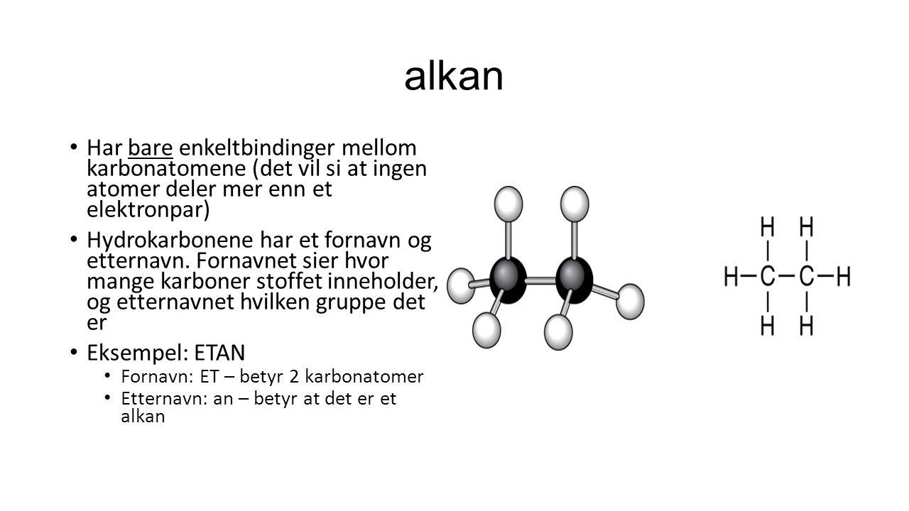 alkan Har bare enkeltbindinger mellom karbonatomene (det vil si at ingen atomer deler mer enn et elektronpar)