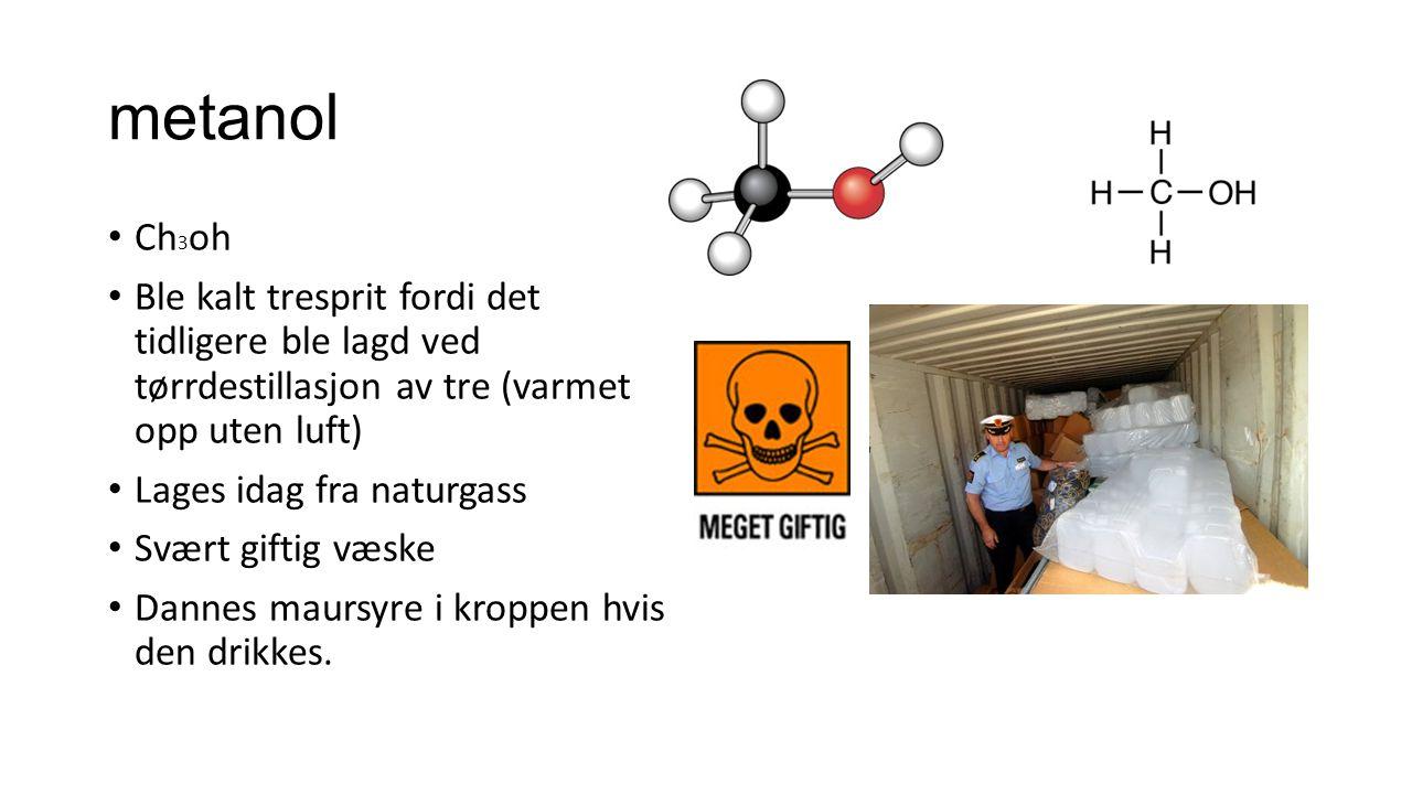 metanol Ch3oh. Ble kalt tresprit fordi det tidligere ble lagd ved tørrdestillasjon av tre (varmet opp uten luft)