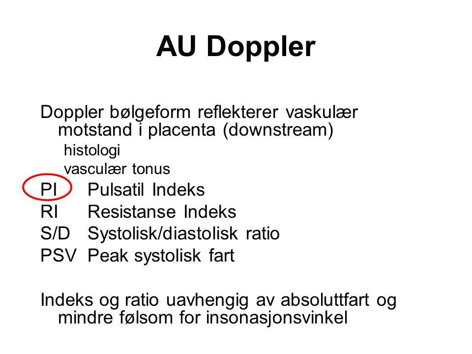 AU Doppler Doppler bølgeform reflekterer vaskulær motstand i placenta (downstream) histologi. vasculær tonus.