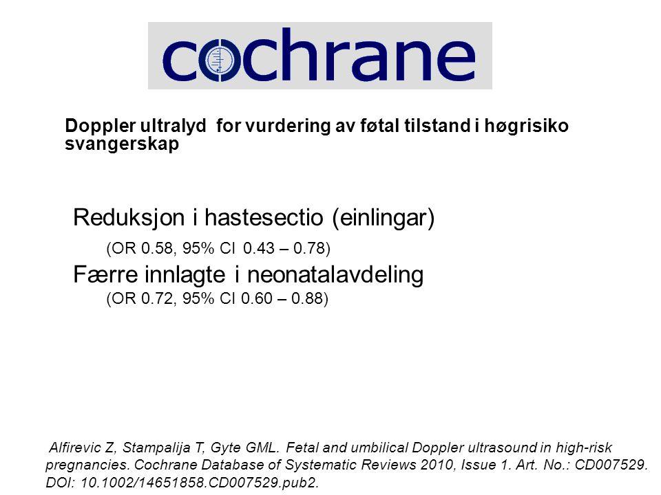 Reduksjon i hastesectio (einlingar) (OR 0.58, 95% CI 0.43 – 0.78)