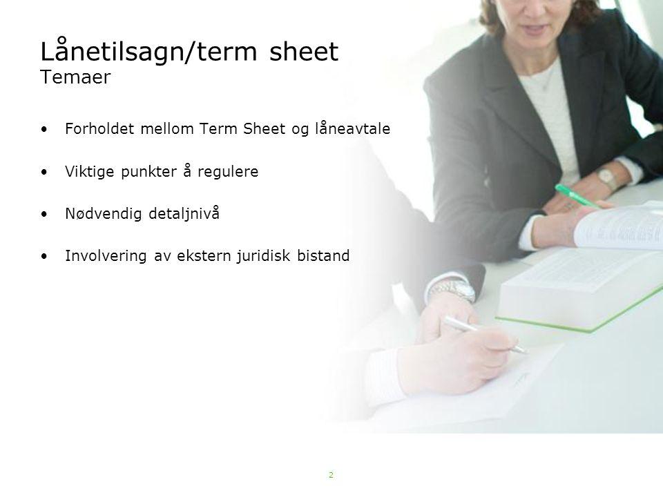 Lånetilsagn/term sheet Temaer