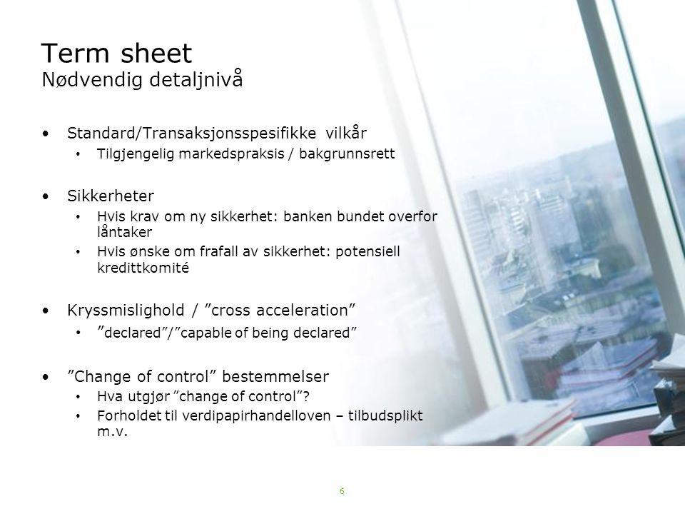 Term sheet Nødvendig detaljnivå