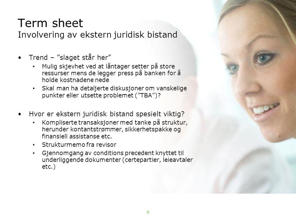 Term sheet Involvering av ekstern juridisk bistand
