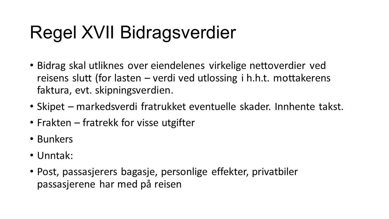 Regel XVII Bidragsverdier