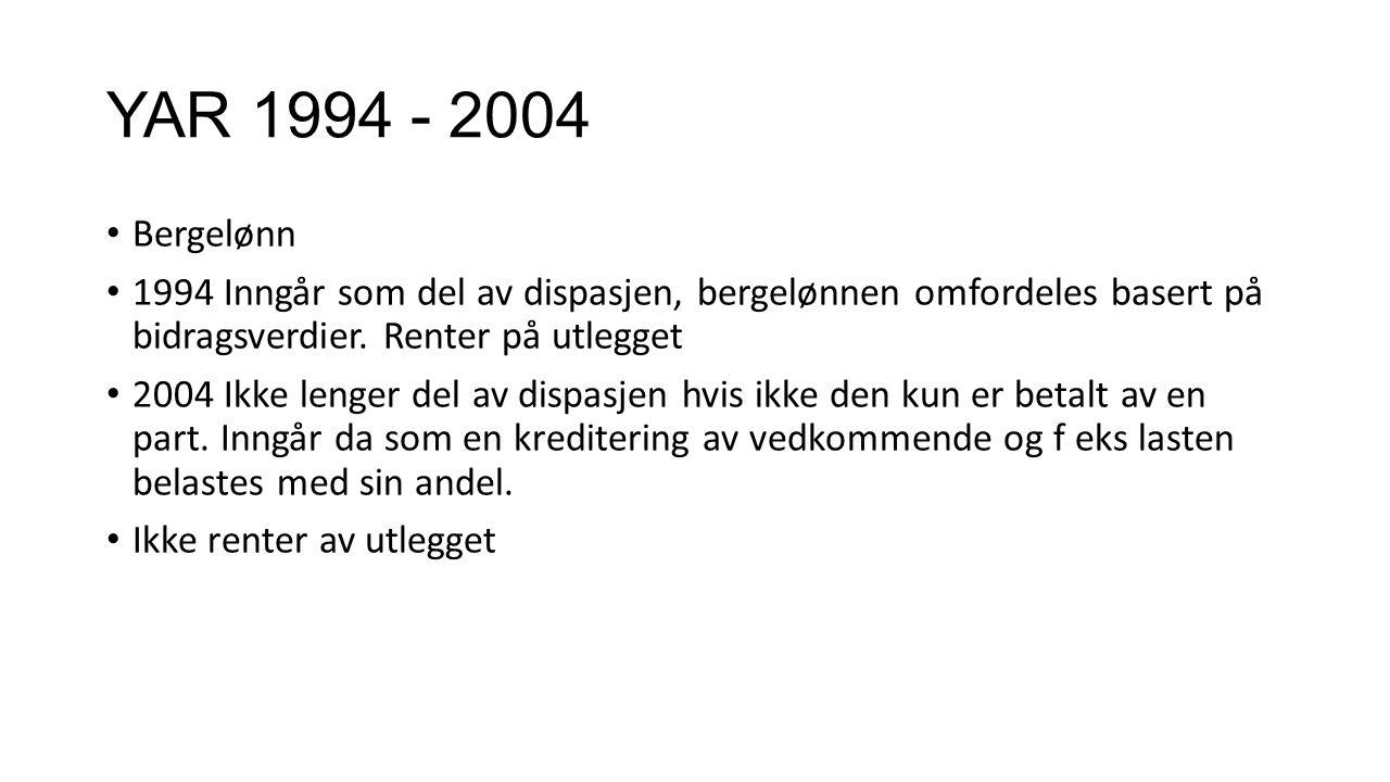 YAR 1994 - 2004 Bergelønn. 1994 Inngår som del av dispasjen, bergelønnen omfordeles basert på bidragsverdier. Renter på utlegget.