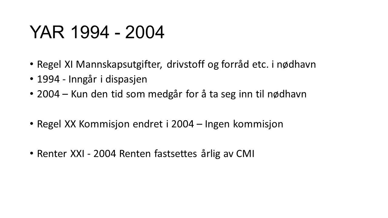 YAR 1994 - 2004 Regel XI Mannskapsutgifter, drivstoff og forråd etc. i nødhavn. 1994 - Inngår i dispasjen.