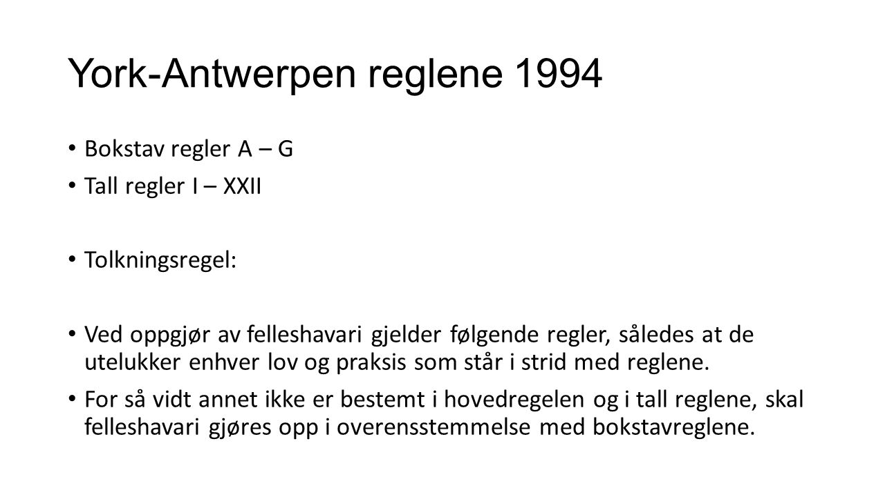 York-Antwerpen reglene 1994