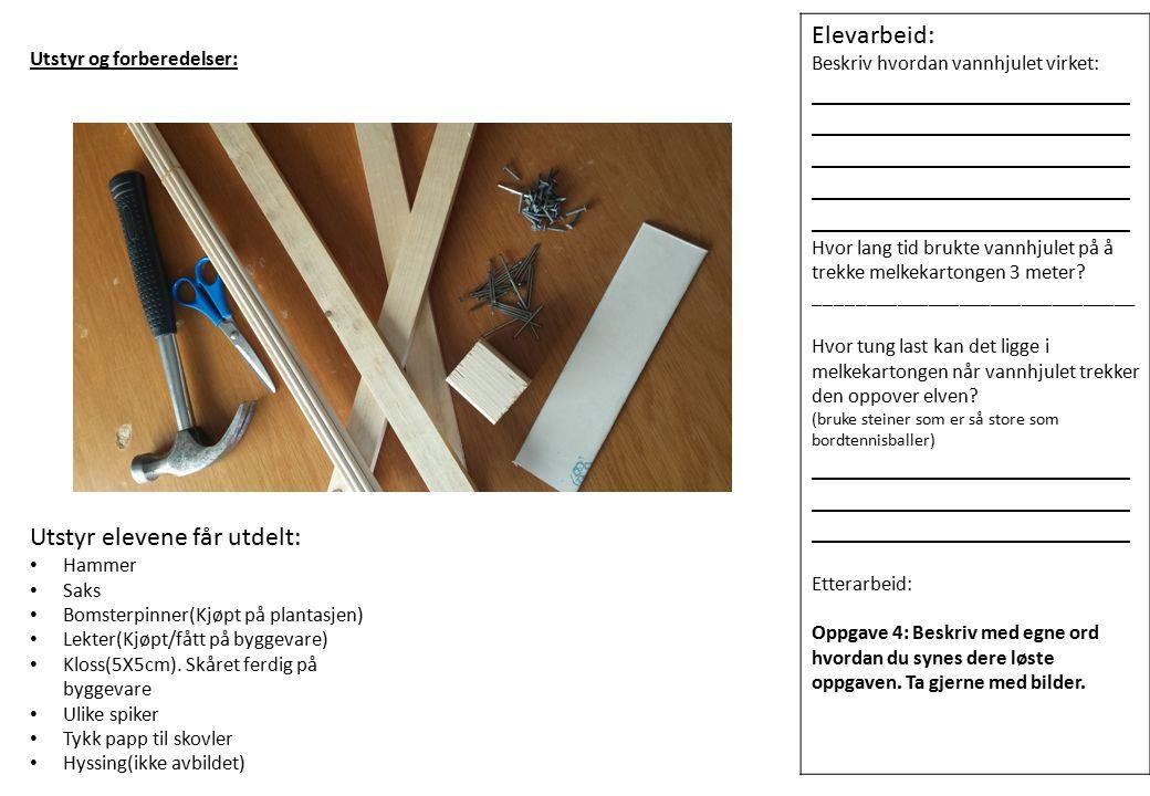 Utstyr elevene får utdelt: