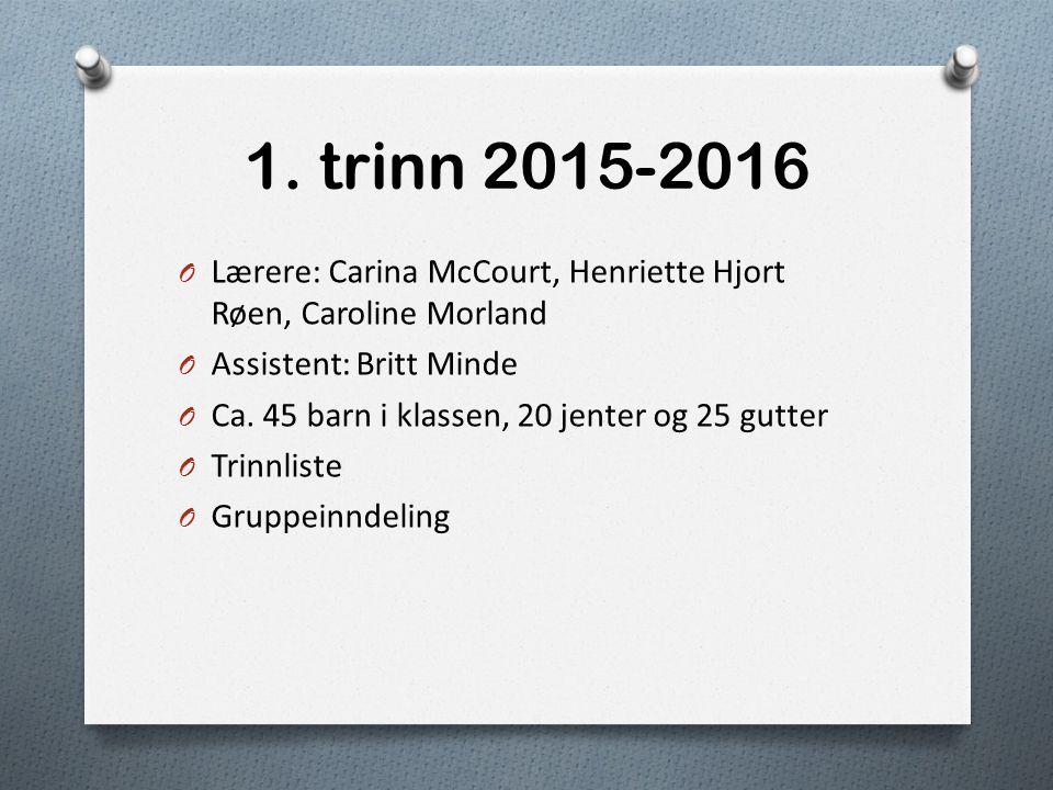 1. trinn 2015-2016 Lærere: Carina McCourt, Henriette Hjort Røen, Caroline Morland. Assistent: Britt Minde.