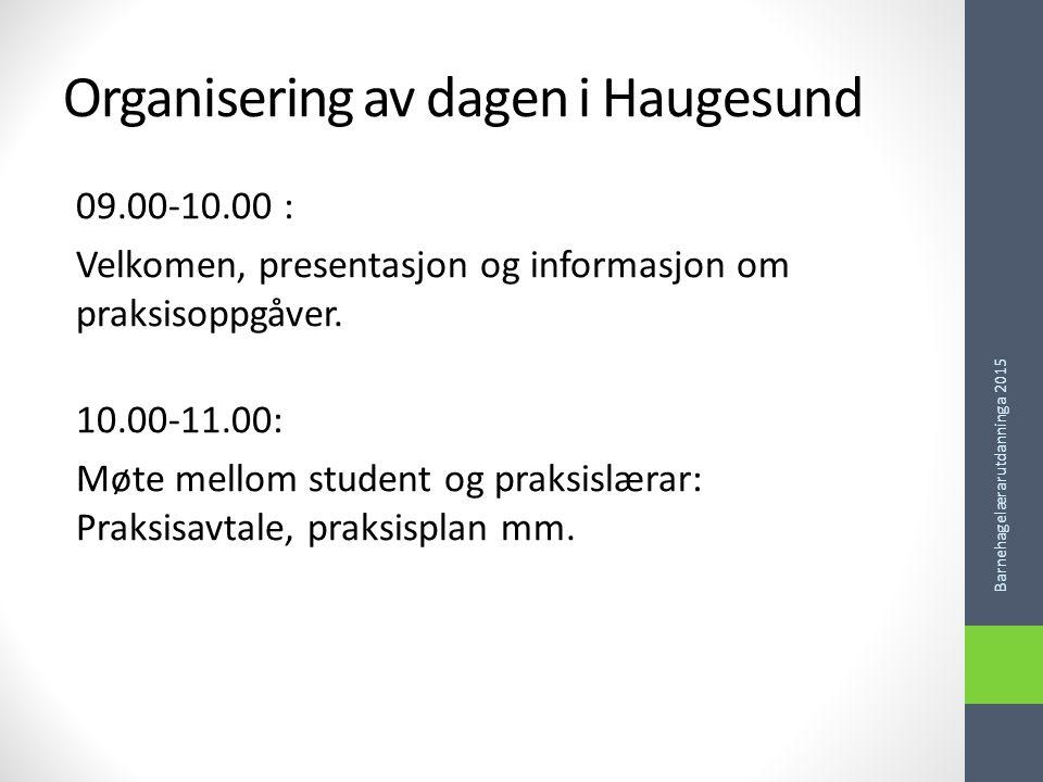 Organisering av dagen i Haugesund