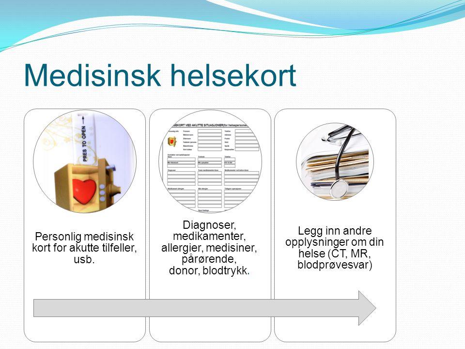 Medisinsk helsekort Personlig medisinsk kort for akutte tilfeller, usb. Diagnoser, medikamenter, allergier, medisiner, pårørende,