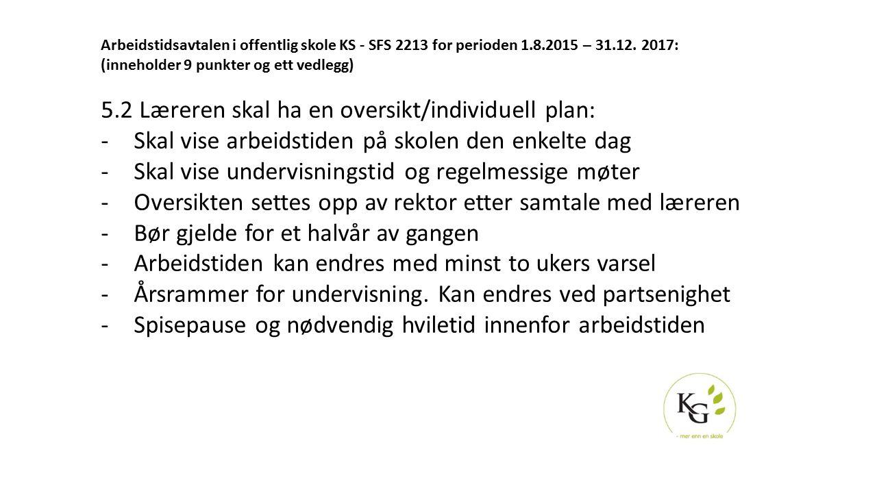 5.2 Læreren skal ha en oversikt/individuell plan: