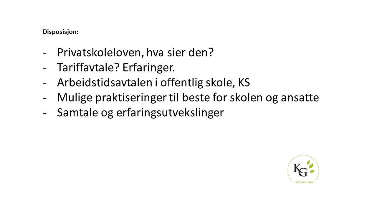Privatskoleloven, hva sier den Tariffavtale Erfaringer.
