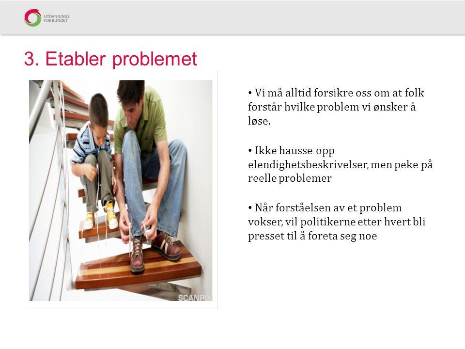3. Etabler problemet Vi må alltid forsikre oss om at folk forstår hvilke problem vi ønsker å løse.