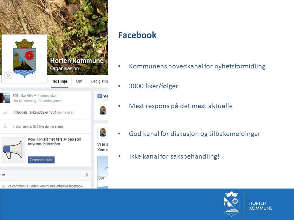 Facebook Kommunens hovedkanal for nyhetsformidling 3000 liker/følger