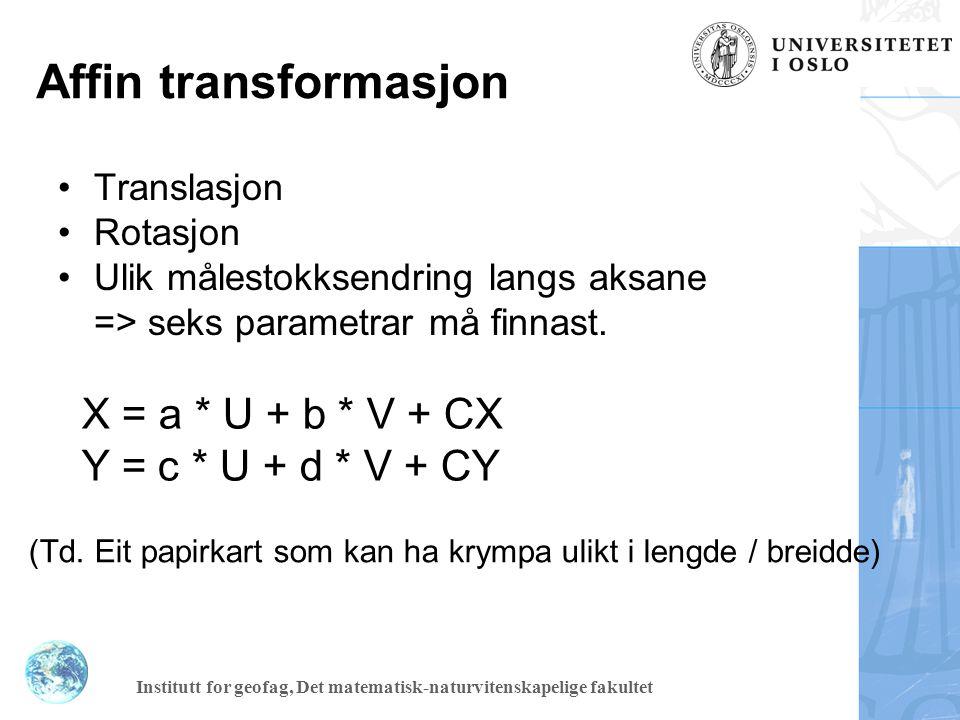 Affin transformasjon X = a * U + b * V + CX Y = c * U + d * V + CY