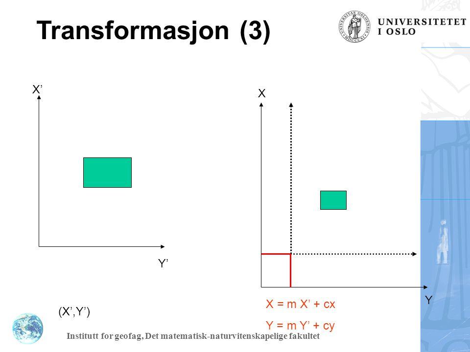 Transformasjon (3) X' X Y' Y X = m X' + cx Y = m Y' + cy (X',Y')