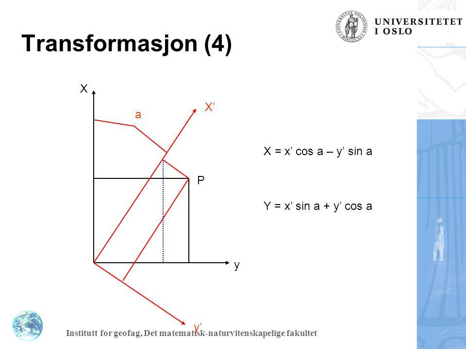 Transformasjon (4) X X' a X = x' cos a – y' sin a P