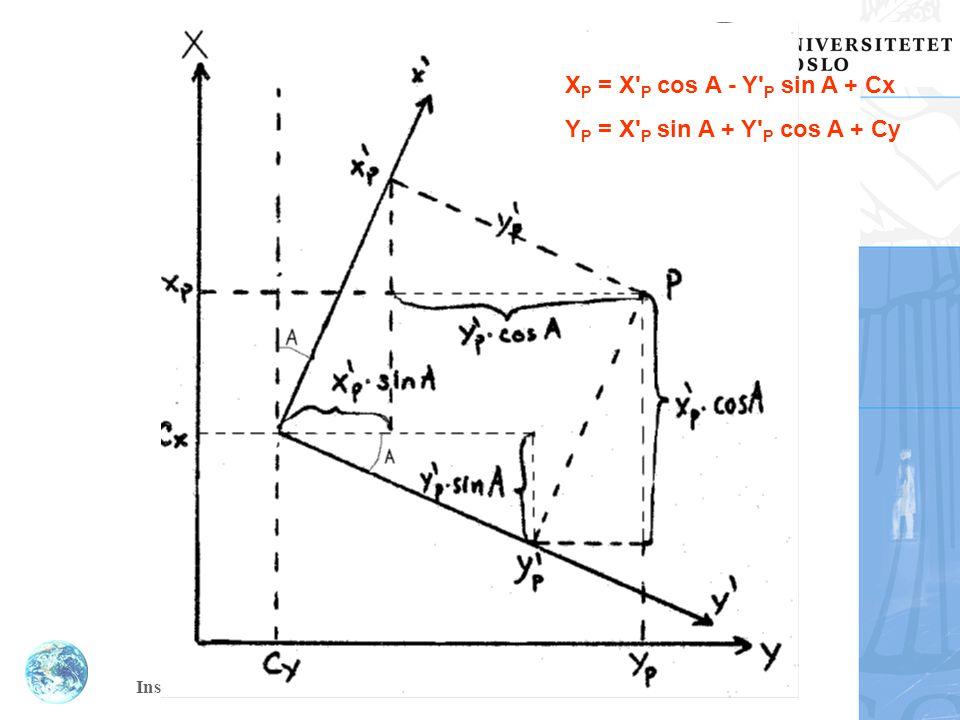 XP = X P cos A - Y P sin A + Cx YP = X P sin A + Y P cos A + Cy