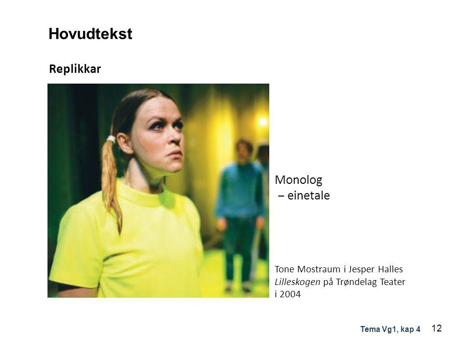Replikkar Hovudtekst Monolog ‒ einetale Tone Mostraum i Jesper Halles