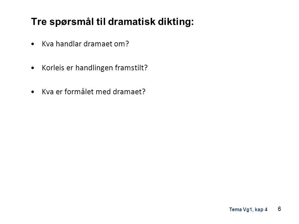 Tre spørsmål til dramatisk dikting: