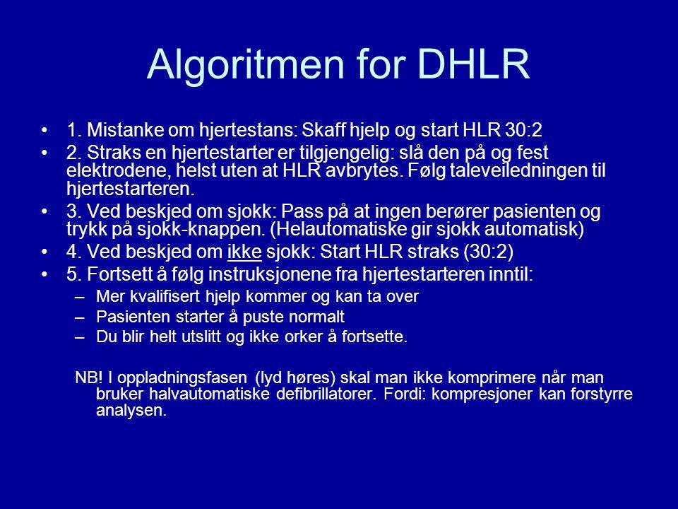 Algoritmen for DHLR 1. Mistanke om hjertestans: Skaff hjelp og start HLR 30:2.