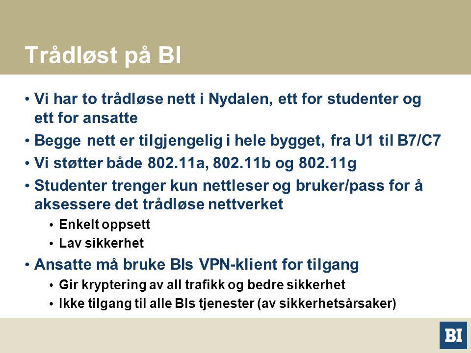 Trådløst på BI Vi har to trådløse nett i Nydalen, ett for studenter og ett for ansatte. Begge nett er tilgjengelig i hele bygget, fra U1 til B7/C7.