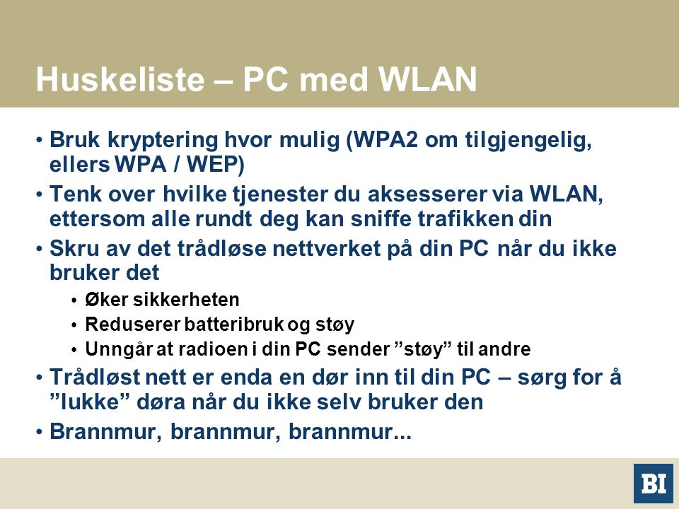 Huskeliste – PC med WLAN