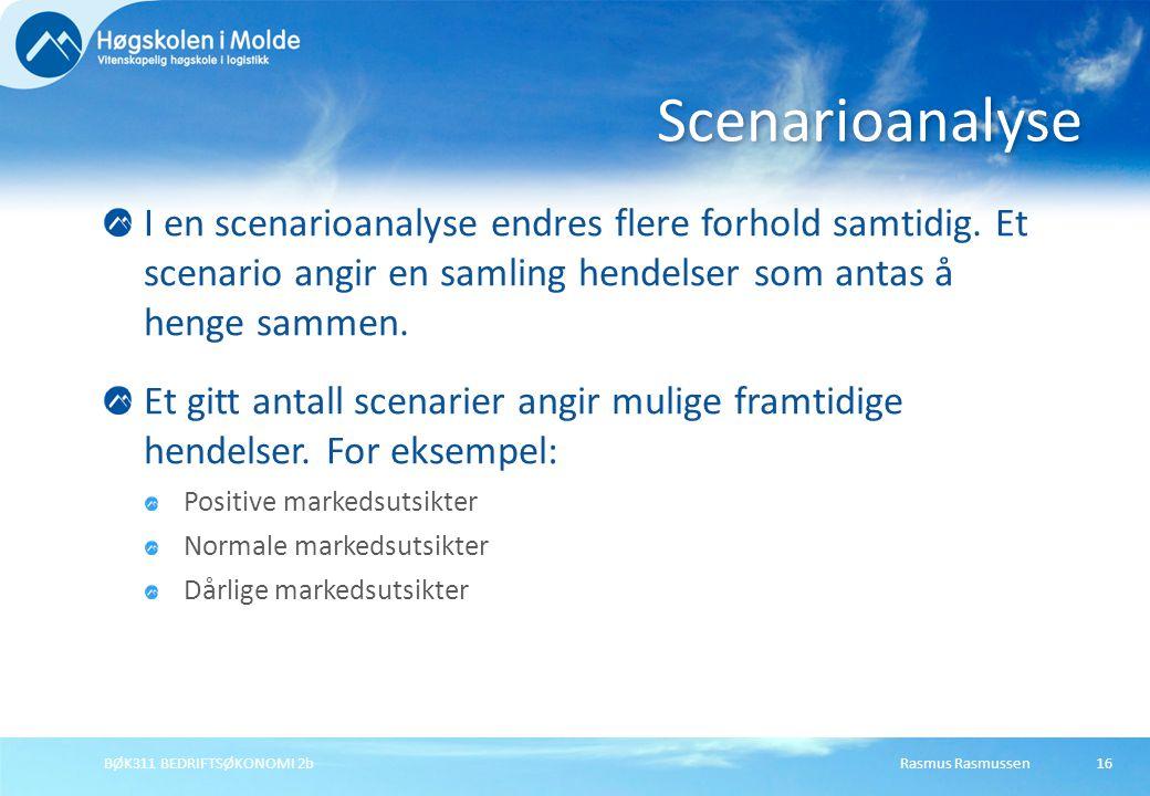 Scenarioanalyse I en scenarioanalyse endres flere forhold samtidig. Et scenario angir en samling hendelser som antas å henge sammen.