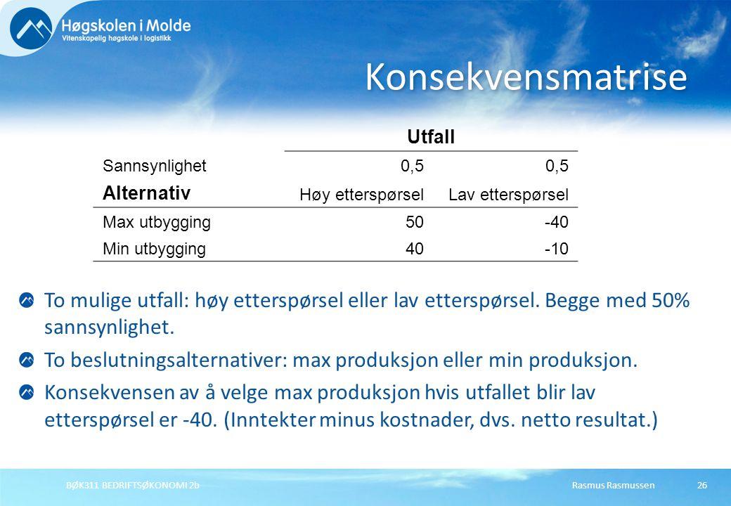 Konsekvensmatrise Utfall. Sannsynlighet. 0,5. Alternativ. Høy etterspørsel. Lav etterspørsel. Max utbygging.