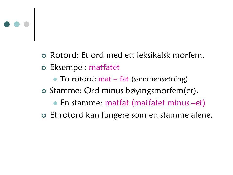 Rotord: Et ord med ett leksikalsk morfem. Eksempel: matfatet