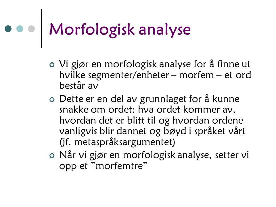 Morfologisk analyse Vi gjør en morfologisk analyse for å finne ut hvilke segmenter/enheter – morfem – et ord består av.