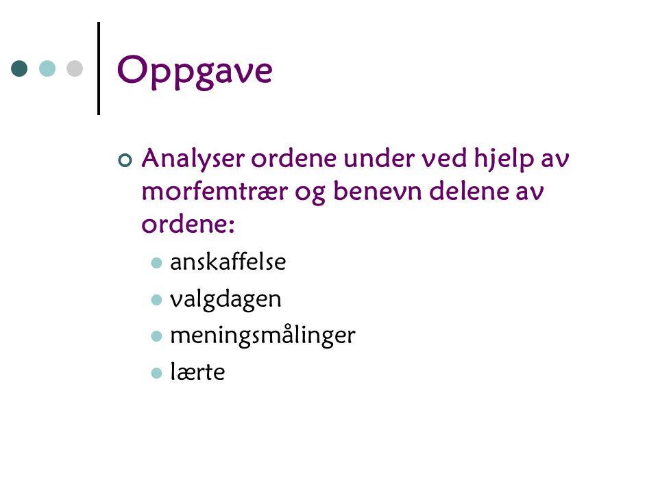Oppgave Analyser ordene under ved hjelp av morfemtrær og benevn delene av ordene: anskaffelse. valgdagen.