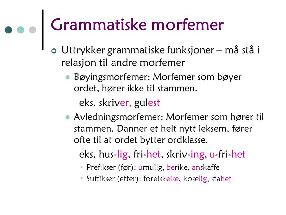 Grammatiske morfemer Uttrykker grammatiske funksjoner – må stå i relasjon til andre morfemer.