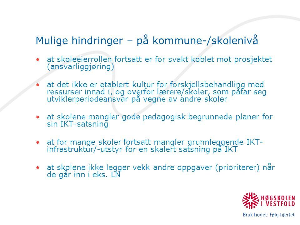 Mulige hindringer – på kommune-/skolenivå
