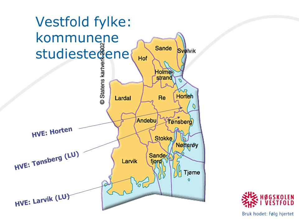 Vestfold fylke: kommunene studiestedene