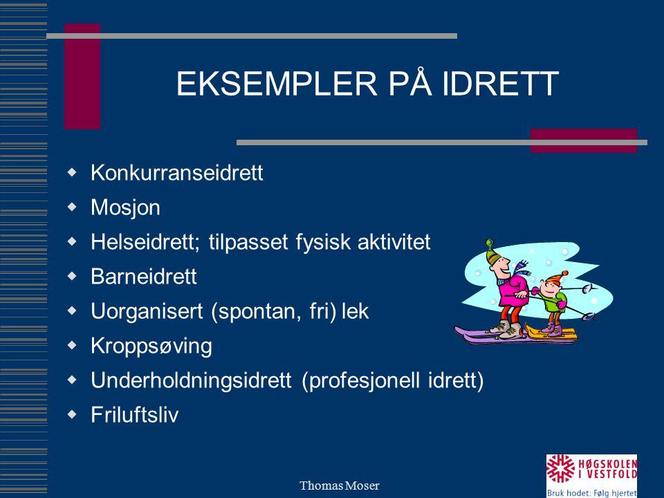 EKSEMPLER PÅ IDRETT Konkurranseidrett Mosjon